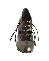 Stuart Weitzman - Grey Metallic Leather Ghillie Lace Up Pumps - Lyst