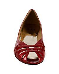Stuart Weitzman - Red Patent Low Key Peep Toe Flats - Lyst