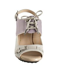 Tod's | Purple Violet and Light Grey Suede Lace-up Detail Sandals | Lyst