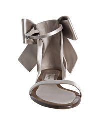 Valentino - Natural Powder Satin Bow Detail Flat Sandals - Lyst