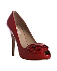 Valentino | Red Leather Rosette Platform Pumps | Lyst