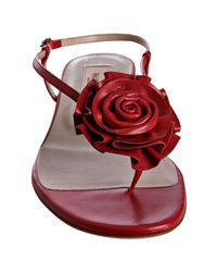 Valentino | Red Leather Rosette Thong Flat Sandals | Lyst