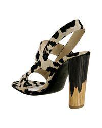 Saint Laurent - Multicolor Tan Leopard Canvas Delave Slingback Sandals - Lyst