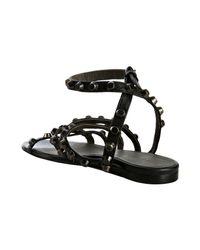 Balenciaga - Black Studded Leather Flat Sandals - Lyst