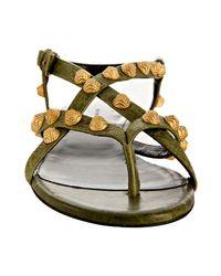 Balenciaga - Green Olive Studded Thong Flat Sandals - Lyst
