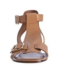 Céline - Brown Bordeaux Leather Buckle Flat Sandals - Lyst