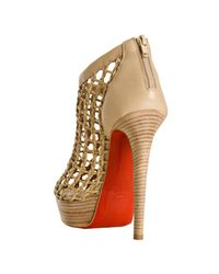 Christian Louboutin | Natural Beige Woven Nappa Coussin 140 Platform Booties | Lyst