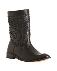 Frye | Black Woven Leather Shirley Stud Huarach Boots | Lyst