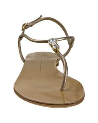 Giuseppe Zanotti - Metallic Silver Nappa Jeweled Thong Sandals - Lyst