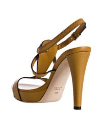 Gucci - Yellow Leather Icon Bit T-strap Platform Sandals - Lyst