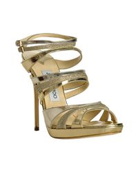 Jimmy Choo | Gold Metallic Leather Buzz Platform Sandals | Lyst