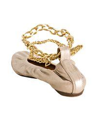 Lanvin - Metallic Silver Lambskin Chain Ankle Flats - Lyst