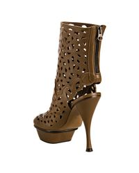 Marni - Brown Perforated Leather Platform Ankle Boots - Lyst