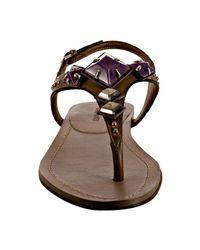 Miu Miu - Purple Mauve Leather Jeweled Thong Flat Sandals - Lyst