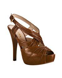 Prada | Light Brown Pleated Leather Platform Sandals | Lyst