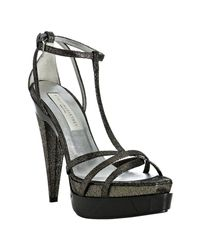 Stella McCartney | Pewter Metallic T-strap Platform Sandals | Lyst