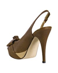 Stuart Weitzman - Brown Walnut Leather Friller Bow Peep Toe Slingback Heels - Lyst