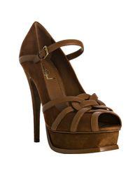 Saint Laurent | Brown Tribute Suede Sandals | Lyst