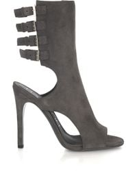 Halston | Gray Cluny Cutout Suede Boots | Lyst