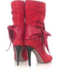 Halston - Red Astor Suede and Leather Boots - Lyst