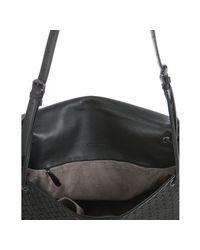 Bottega Veneta - Black Woven Nappa Cross Body Flap Bag - Lyst