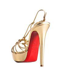 Christian Louboutin - Metallic Gold Nappa Disco Lilou 140 Platform Sandals - Lyst