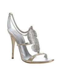 Giuseppe Zanotti | Metallic Platinum Leather Dollar Sign Crystal Sandals | Lyst