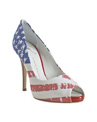 Giuseppe Zanotti | Red Stars and Stripes Canvas Peep Toe Pumps | Lyst