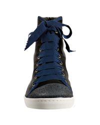 Lanvin | Black Satin Cap Toe High Top Sneakers | Lyst