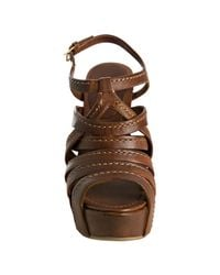 Miu Miu | Brown Coconut Stitched Leather Wedge Sandals | Lyst