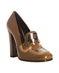 Prada | Brown Brandy Patent Leather Loafer Pumps | Lyst