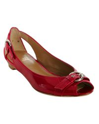 Stuart Weitzman | Red Patent Leather Chit Chat Flats | Lyst