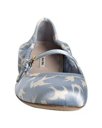 Miu Miu - Light Blue Bird Satin Mary-jane Flats - Lyst