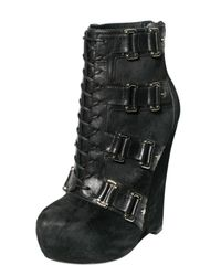 Alejandro Ingelmo - Black 140mm Pony Buckle Lace Up Boot Wedges - Lyst
