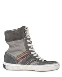 Collection Privée | Gray Suede and Leather Striped Boxing Sneaker | Lyst