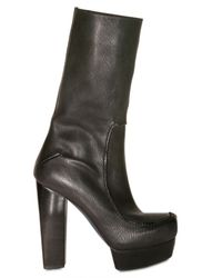 CoSTUME NATIONAL | Black 140mm Square Toe Leather Boots | Lyst