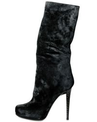 Diego Dolcini - Black 120mm Suede and Mink Fur Pull On Boots - Lyst
