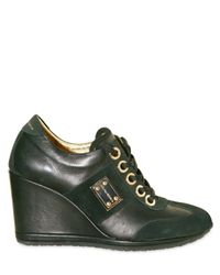 Dolce & Gabbana | Black Suede and Leather Wedge Sneakers | Lyst