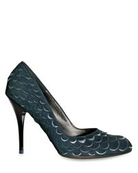 Ferragamo | Green Nabuk Paillette Scale Gabbi Pumps | Lyst