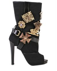 Jo No Fui | Black Canvas Cotton with Pins Boots | Lyst