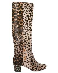 Lanvin | Multicolor 55mm Leopard Print Pony Skin Boots | Lyst