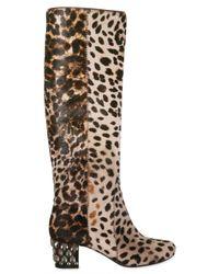 Lanvin - Multicolor 55mm Leopard Print Pony Skin Boots - Lyst