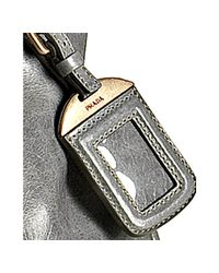 Prada - Cloud Blue Vitello Shine Leather Zip Detail Tote - Lyst