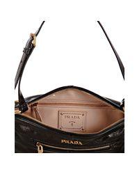 Prada - Black Glazed Leather Small Shoulder Bag - Lyst