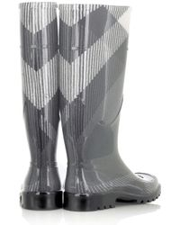 Burberry - Gray Checked Wellington Boots - Lyst