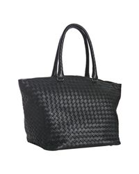 Bottega Veneta | Black Woven Leather Medium Tote | Lyst