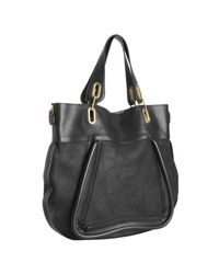 Chloé | Black Calfskin Leather and Suede Paraty Large Tote | Lyst