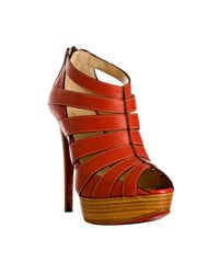 Christian Louboutin | Red Leather Pique Cire 140 Back Zip Platform Sandals | Lyst