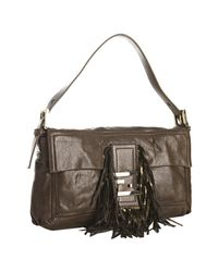 Fendi - Brown Leather Fringe Convertible Baguette - Lyst