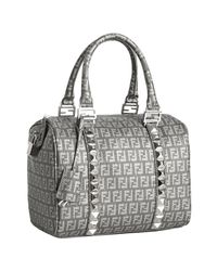 Fendi | Gray Grey Spalmati Studded Strap Forever Boston Bag | Lyst